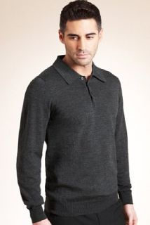 Collezione Pure Merino Wool Long Sleeve Polo Jumper   Marks & Spencer