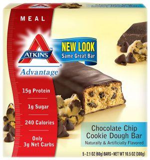 Akins Advanage Bar Chocolae Chip Cookie Dough    5 Bars   Viacos