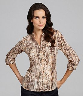 Lucky Brand Jeans Snake Eyes Jane Button Front Blouse  Dillards