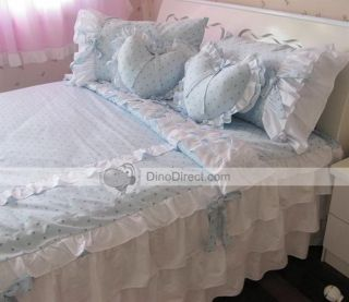 Wholesale Stylish Flounce Dots Print Cotton Queen Size Bed Sheet Set