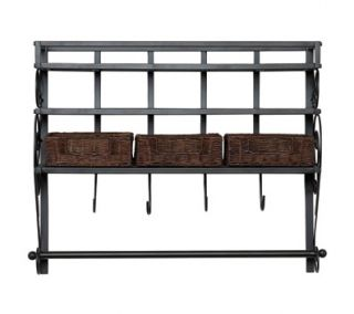SEI Wall Mount Craft Storage Rack w/ Baskets, 35 1/2 W