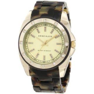 Anne Klein Womens 10/9988CHTO Gold Tone Tortoise Resin Bracelet Watch