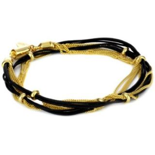Accessories and Beyond Black Cord and Gold Tone Chain Wrap Bracelet
