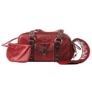 Jill.e Weatherproof Small Red Leather Camera Bag with Brown Leather