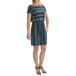 Tiana B Diamond Print Jersey Dress   Short Sleeve (For Women) in Blue