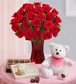 Two Dozen Red Roses + Free Bear from 1 800 FLOWERS 95632