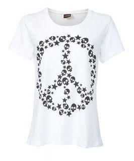 White (White) Pieces White Skull Peace Sign T Shirt  267635610  New