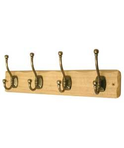 Rustic Pine Hat and Coat Rail   Antique Brass   4 Hooks from Homebase