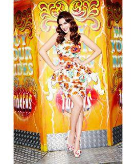 Orange/Yellow Pattern (Orange) Kelly Brook Orange Poppy Peplum Dress