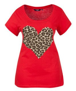 Red (Red) Inspire Red Leopard Print Heart T Shirt  253681160  New