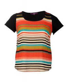 null (Multi Col) Inspire Orange Striped Front T Shirt  245711299