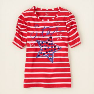 girl   short sleeve tops   ruched artsy tee  Childrens Clothing