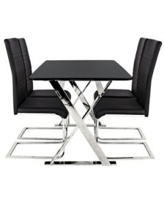 Black Cross Frame Table + 4 Jet Chairs Package Deal (buy and SAVE