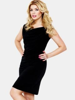 Holly Willoughby Draped Jersey Dress   Black Very.co.uk