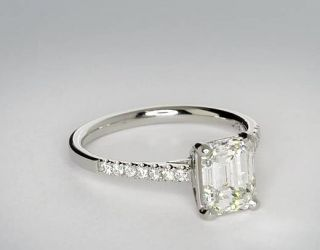 Petite Cathedral Pave Diamond Engagement Ring in Platinum  Blue Nile