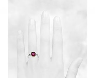 Cushion Ruby and Diamond Ring in Platinum  Blue Nile