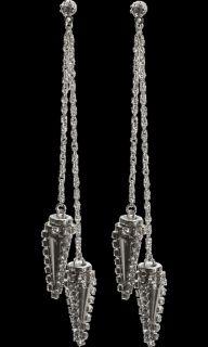 Erickson Beamon Silver & Crystal Spike Drop Earrings