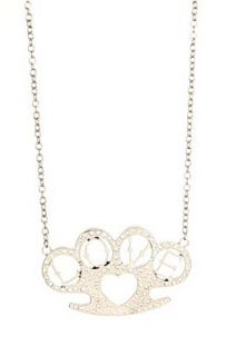Rock Rebel Silver Bling Brass Knuckles Love Necklace   194765