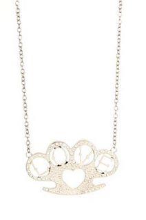 Rock Rebel Silver Bling Brass Knuckles Love Necklace   194765