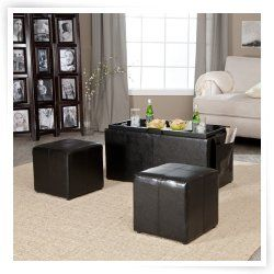 Hartley Coffee Table Storage Ottoman with Tray   Side Ottomans & Side
