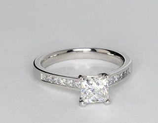 Channel Set Princess Cut Diamond Engagement Ring in Platinum  Blue
