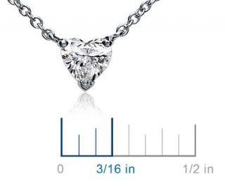 Heart Shaped Diamond Pendant in 18k White Gold (3/8 ct. tw.)  Blue