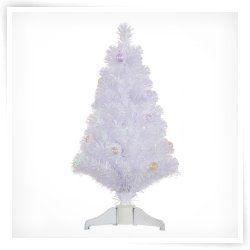 Vickerman 3 ft. White Fiber Optic Christmas Tree with Ball Ornaments