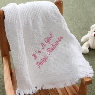 2618   Embroidered Sweet Dreams Baby Blanket   Snow White