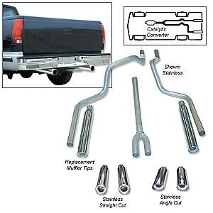 1994 2008 DODGE RAM 1500 EXHAUST SYSTEM (DEEP TONED DUAL OUTLET CAT