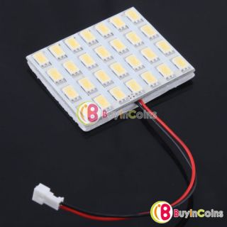 Car White 28 SMD LED Panel Interior Dome Lights Bulbs 15W T10 Adapter