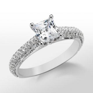Monique Lhuillier Cathedral Pavé Engagement Ring in Platinum  Blue