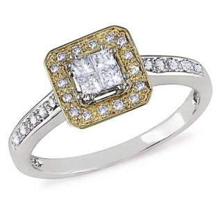 CT. T.W. Princess Cut Quad Diamond Frame Ring in 10K Two Tone Gold