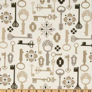 Michael Miller Secret Garden Lock & Key Khaki   Discount Designer