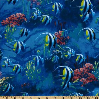 Nature and Outdoor Tropical Fish Blue   Discount Designer Fabric