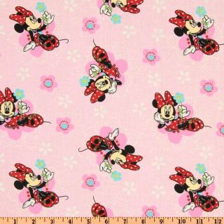 Minnie Mouse Floral Badges Pink   Discount Designer Fabric   Fabric