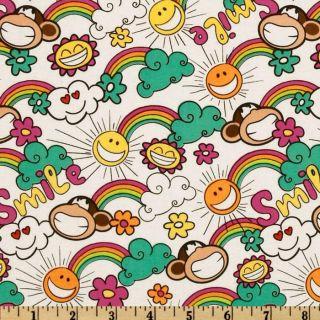Bobby Jack Rainbows Sunshine White/Multi   Discount Designer Fabric