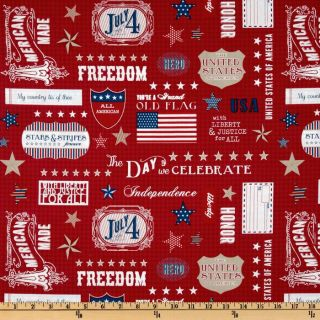 Stars & Stripes Words Red   Discount Designer Fabric   Fabric