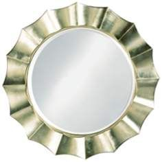 Silver Finish Sun Shadow Round 41 Wide Wall Mirror