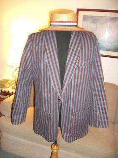 Mary Poppins Bert Boating Costume, XL Striped Denim Jacket Blazer