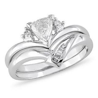 CT. T.W. Trillion Cut Diamond Bridal Set in 14K White Gold   View