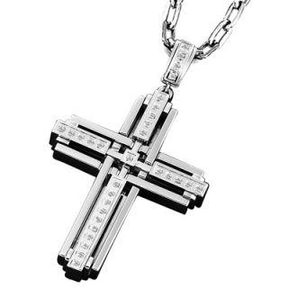 Triton Mens 1/3 CT. T.W. Diamond Cross Pendant in Stainless Steel