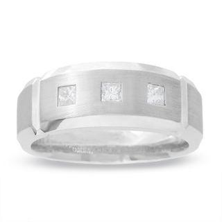Mens 3/8 CT. T.W. Princess Cut Diamond Three Stone Cuff Band in 14K