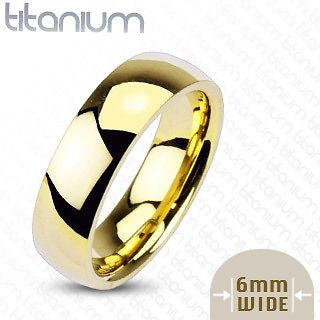 Titanium Traditional Wedding Engagement Band Ring Yellow Gold Plated