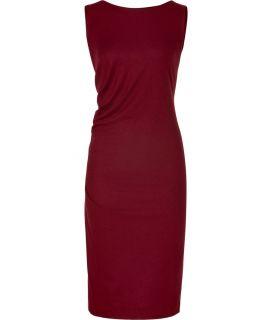 Jil Sander Bordeaux Draped Wool Dress  Damen  Kleider