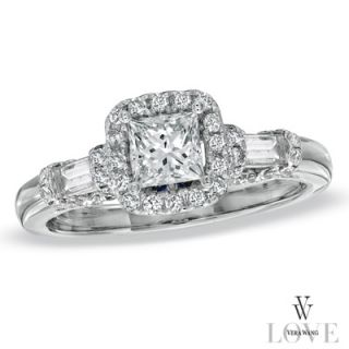 Vera Wang LOVE Collection 1 CT. T.W. Princess Cut and Baguette Diamond