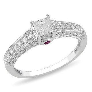 CT. T.W. Princess Cut Diamond and Pink Sapphire Accent Engagement