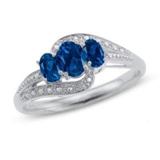 10K White Gold Oval Lab Created Sapphire Three Stone Ring with Diamond