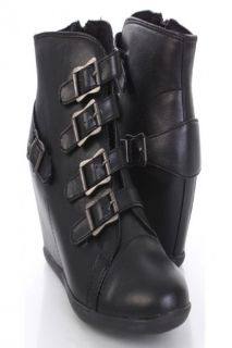 Black Faux Leather Buckled Strappy Ankle Sneaker Wedges @ Amiclubwear