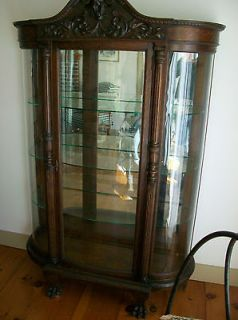 ANTIQUE LIONS HEAD CURVED GLASS CURIO CHINA CABINET