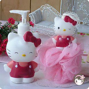 2pcs Set Hello Kitty Bathroom Bath Lotion Bottle Shower